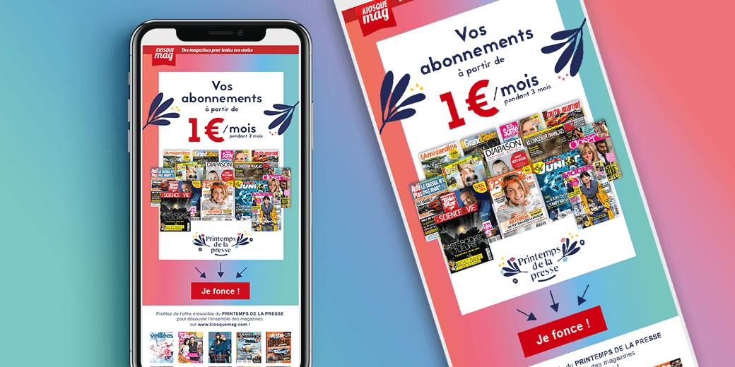 LSZ Communication - Graphiste - Directrice artistique freelance Nantes - #lepetitoiseaudelacom - KiosqueMag - Printemps 2019 - Abonnement magazines - Emailing - Agence BY M