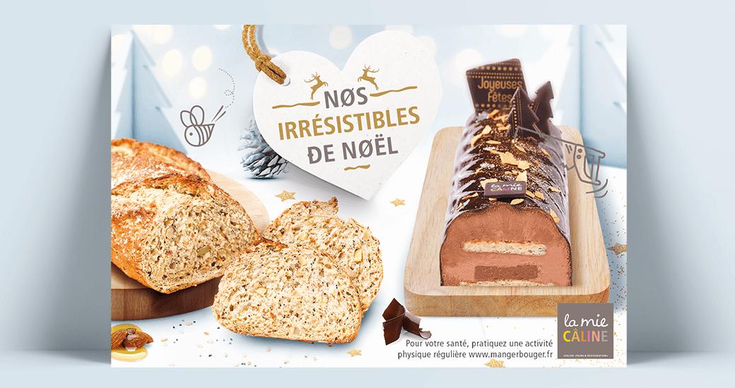 LSZ Communication - Graphiste freelance Nantes -La Mie Caline - Affiches Noel 2019- Alimentaire-Produits-buche-pain