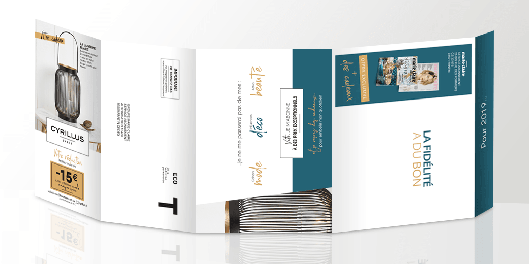 LSZ Communication - Graphiste - Directrice artistique freelance Nantes - #lepetitoiseaudelacom - Marie Claire - Marie Claire Maison - Cyrilus - Offre Duo - Abonnement magazines - Mailing - Agence BY M