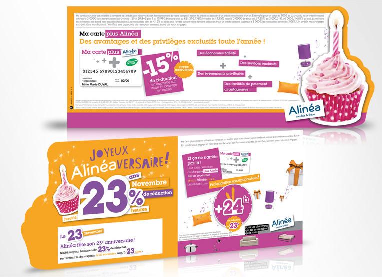 LSZ Communication - Graphiste - Directrice artistique freelance Nantes - #lepetitoiseaudelacom - Alinéa - Alinéaversaire - Communication programme carte de fidélité - Mailing - Agence caribou
