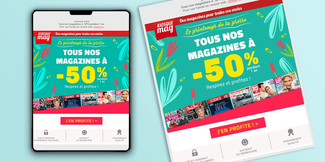 LSZ Communication - Graphiste - Directrice artistique freelance Nantes - #lepetitoiseaudelacom - KiosqueMag - Printemps 2018 - Abonnement magazines - emailing - Agence BY M