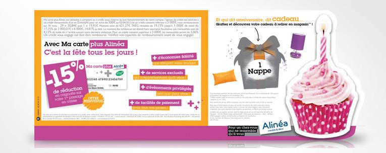 Graphiste freelance Nantes-LSZ Communication-Alinéa - Communication programme carte de fidélité - Alinéaversaire