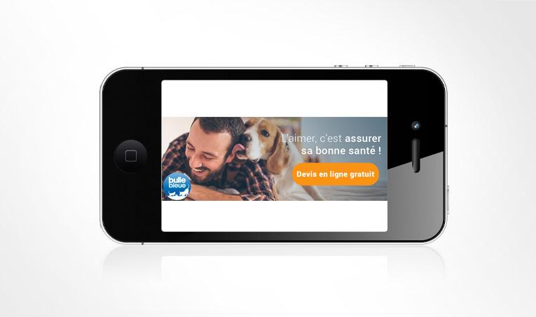 LSZ Communication - Graphiste - Directrice artistique freelance Nantes - #lepetitoiseaudelacom - Bulle Bleue - Assurance santé Animale - Bannière - Annonce Gmail - Agence caribou