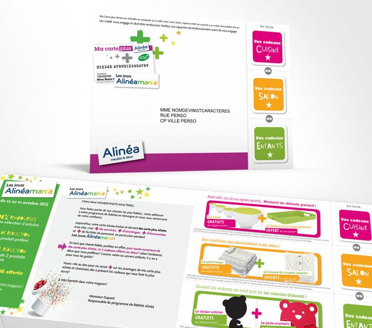 LSZ Communication - Graphiste - Directrice artistique freelance Nantes - #lepetitoiseaudelacom - Alinéa - Alinéamania - Communication programme carte de fidélité - Mailing - Agence caribou