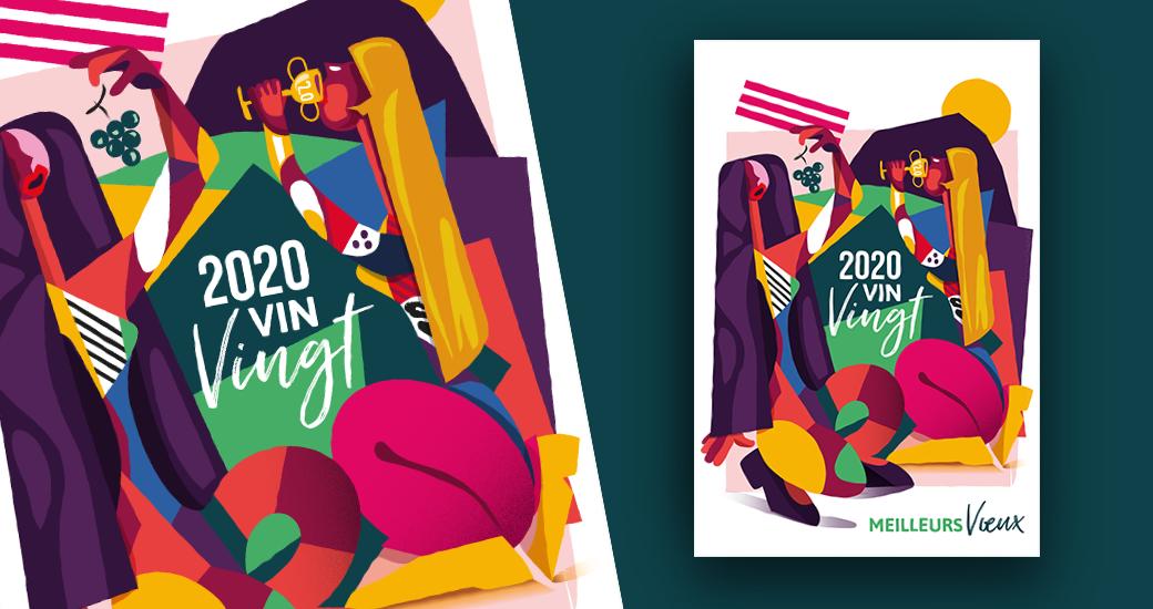 LSZ Communication - Graphiste - Directrice artistique freelance Nantes - #lepetitoiseaudelacom - Illustration - Carte Voeux - Bonne année 2020