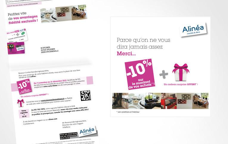LSZ Communication - Graphiste - Directrice artistique freelance Nantes - #lepetitoiseaudelacom - Alinéa - Communication programme carte de fidélité - Mailing - Agence caribou