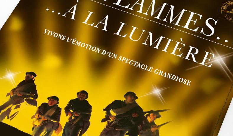 LSZ Communication - Graphiste - Directrice artistique freelance Nantes - #lepetitoiseaudelacom - Connaissance de la Meuse - Spectacle des Flammes à la lumière - Verdun - Affiche - Publicité