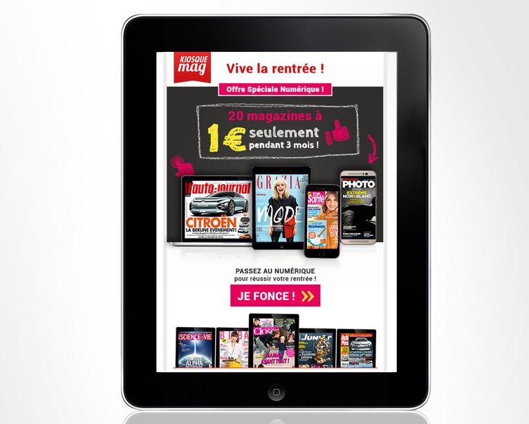 LSZ Communication - Graphiste - Directrice artistique freelance Nantes - #lepetitoiseaudelacom - Kiosquemag - Abonnement magazines - Rentrée - Bannière - Agence BY M