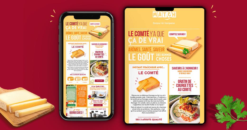 LSZ Communication - Graphiste - Directrice artistique freelance Nantes - #lepetitoiseaudelacom - SUPERMARCHE MATCH-ALIMENTAIR -Newsletter-fromage-Agence Caribou