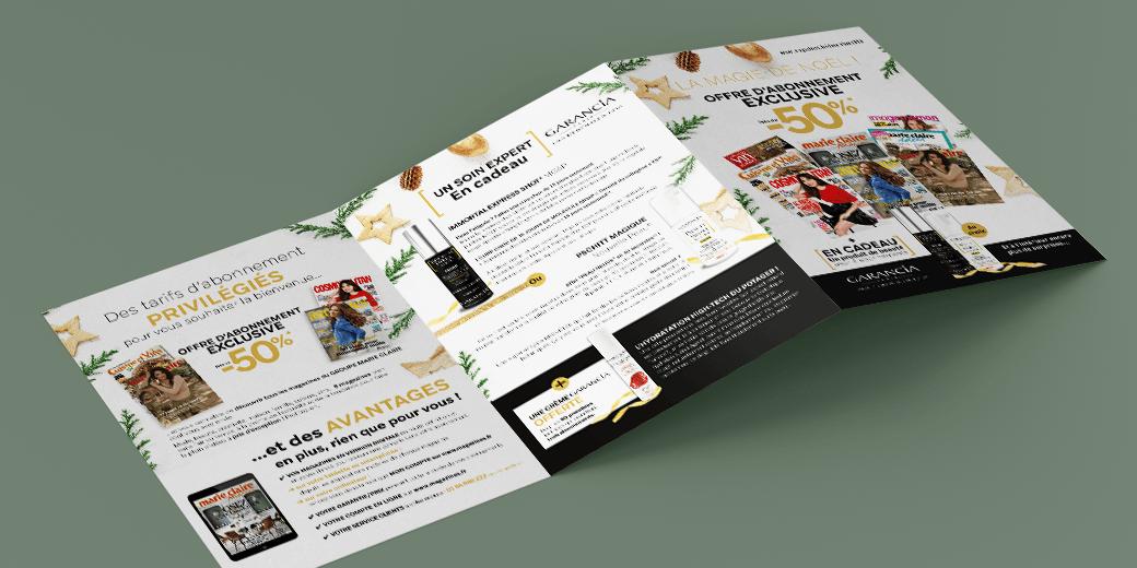 LSZ Communication - Graphiste - Directrice artistique freelance Nantes - #lepetitoiseaudelacom - Marie Claire - Multi titres - Noël 2018 - Abonnement magazines -Encart - Dépliant - Agence BY M