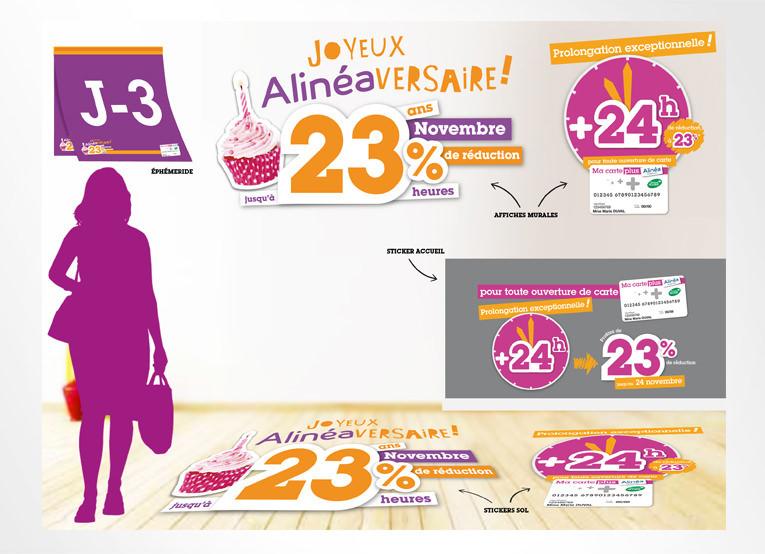 LSZ Communication - Graphiste - Directrice artistique freelance Nantes - #lepetitoiseaudelacom - Alinéa - Alinéaversaire - Communication programme carte de fidélité - Animation magasins - Agence caribou