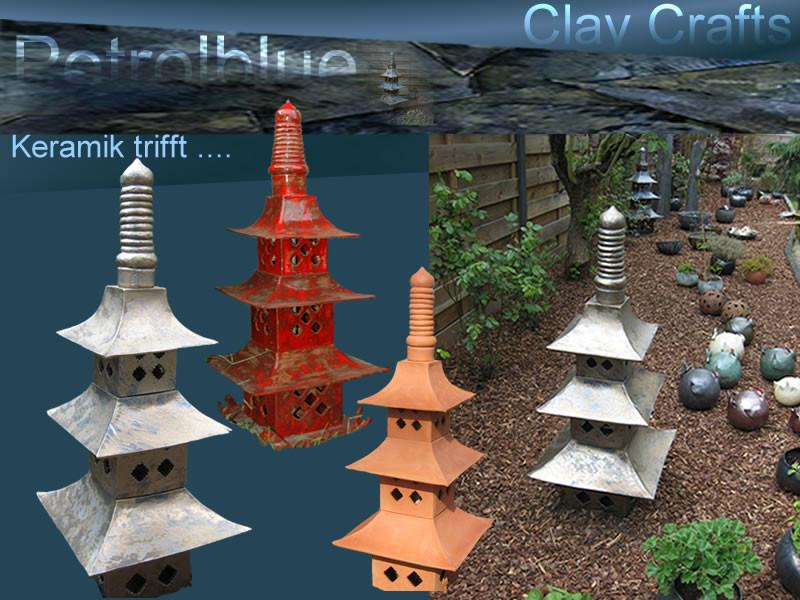 Keramik Pagoden für anspruchsvolle Gartengestaltung mit hochwertigen leuchtenden und glänzenden Glasuren; Pagoden 80cm-100cm bestehen aus mehreren Einzelelementen und können in Einzelteile zerlegt werden