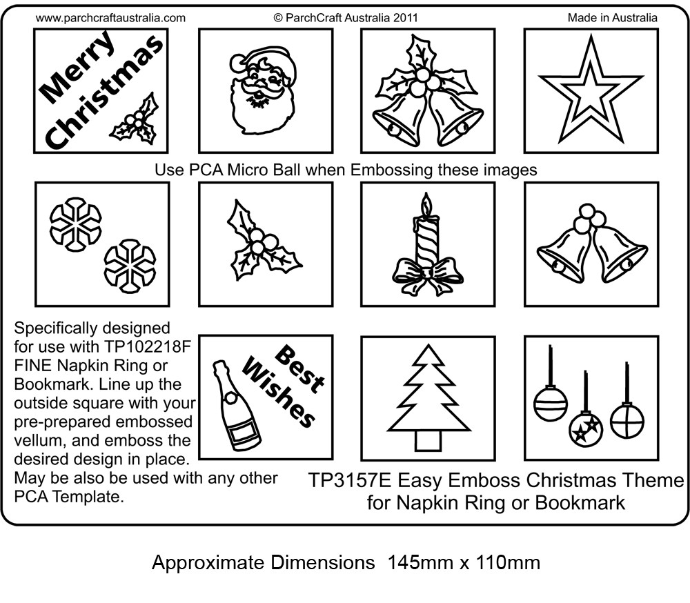 ParchCraft Australia PCA Easy Embossing Templates Pictures and – Christmas Bookmark Templates
