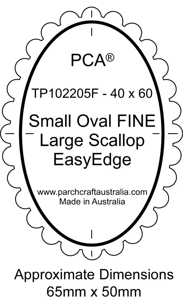 TP102205F PCA Template Guide For A Scallop Edge Small Oval Fine Large