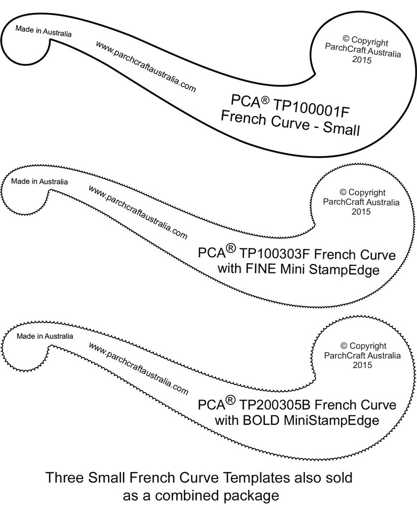photo relating to Printable French Curve identify PCA Templates - French Curves - Craft Products