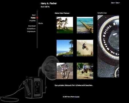 Fotografie Website, Entwurfsarbeit