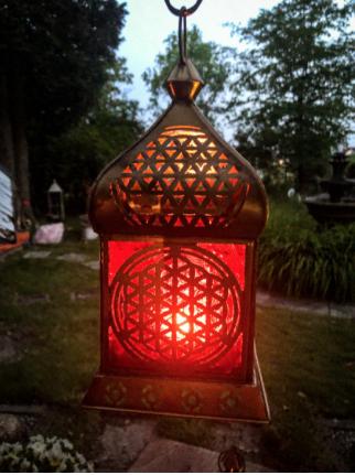 Orientalische Laterne Blume des Lebens golden