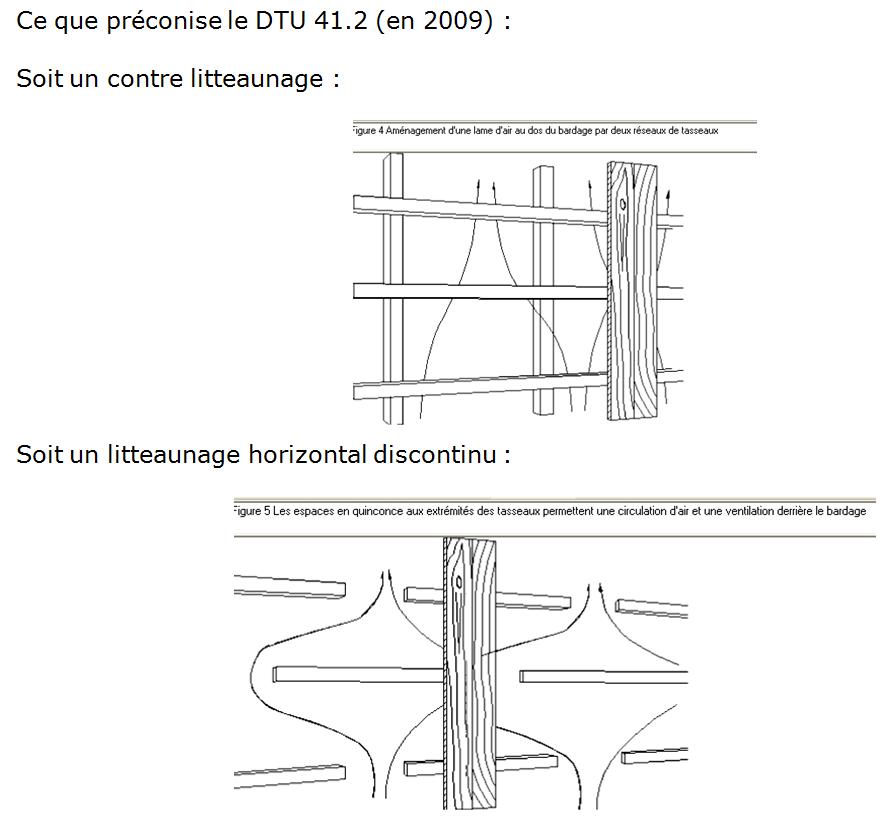 Ce que préconise le DTU 41.2 (en 2009) : soit un contre litteaunage, soit un litteaunage horizontal discontinu
