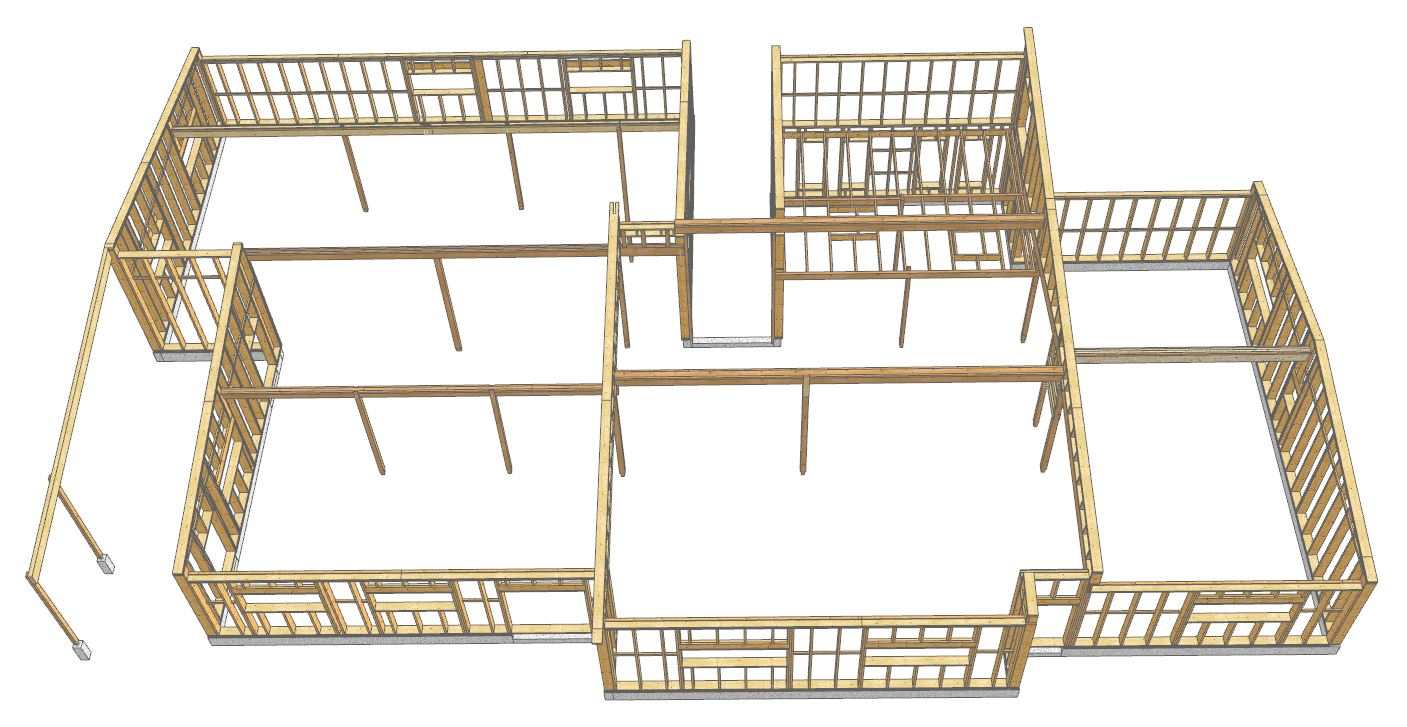 dessin 3D structure MOB et poteaux-poutres