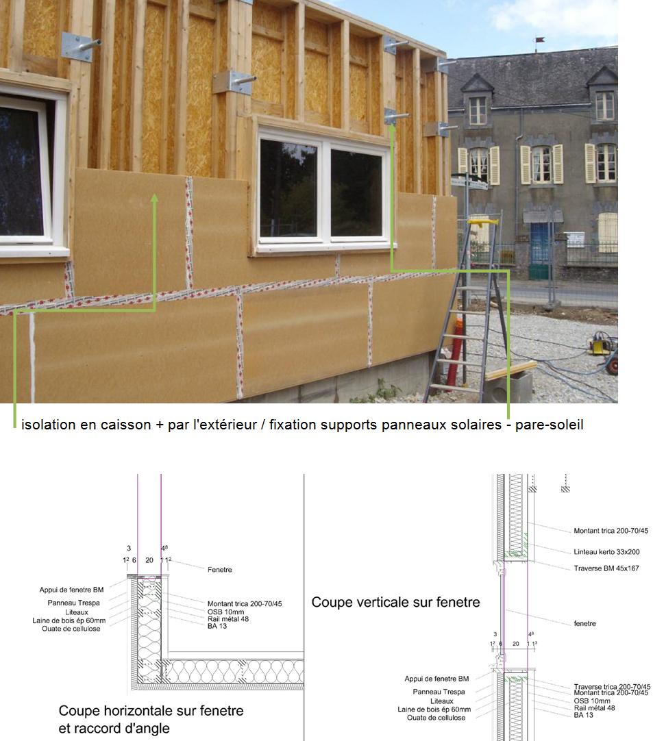 isolation en caisson + par l'extérieur / fixation supports panneaux solaires - pare-soleil
