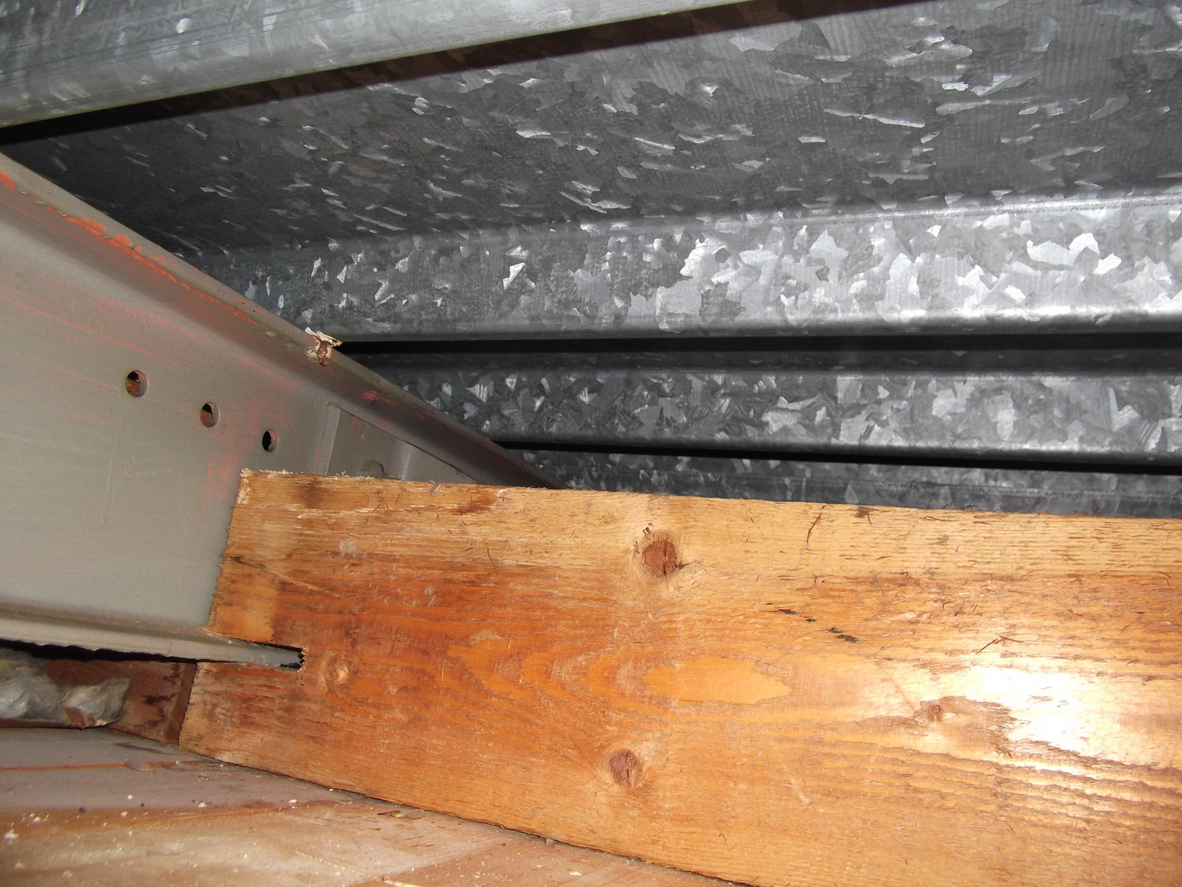 E.R.P. : salle de sport - couverture type bas acier - support plafond en chevron de bois sain (1)