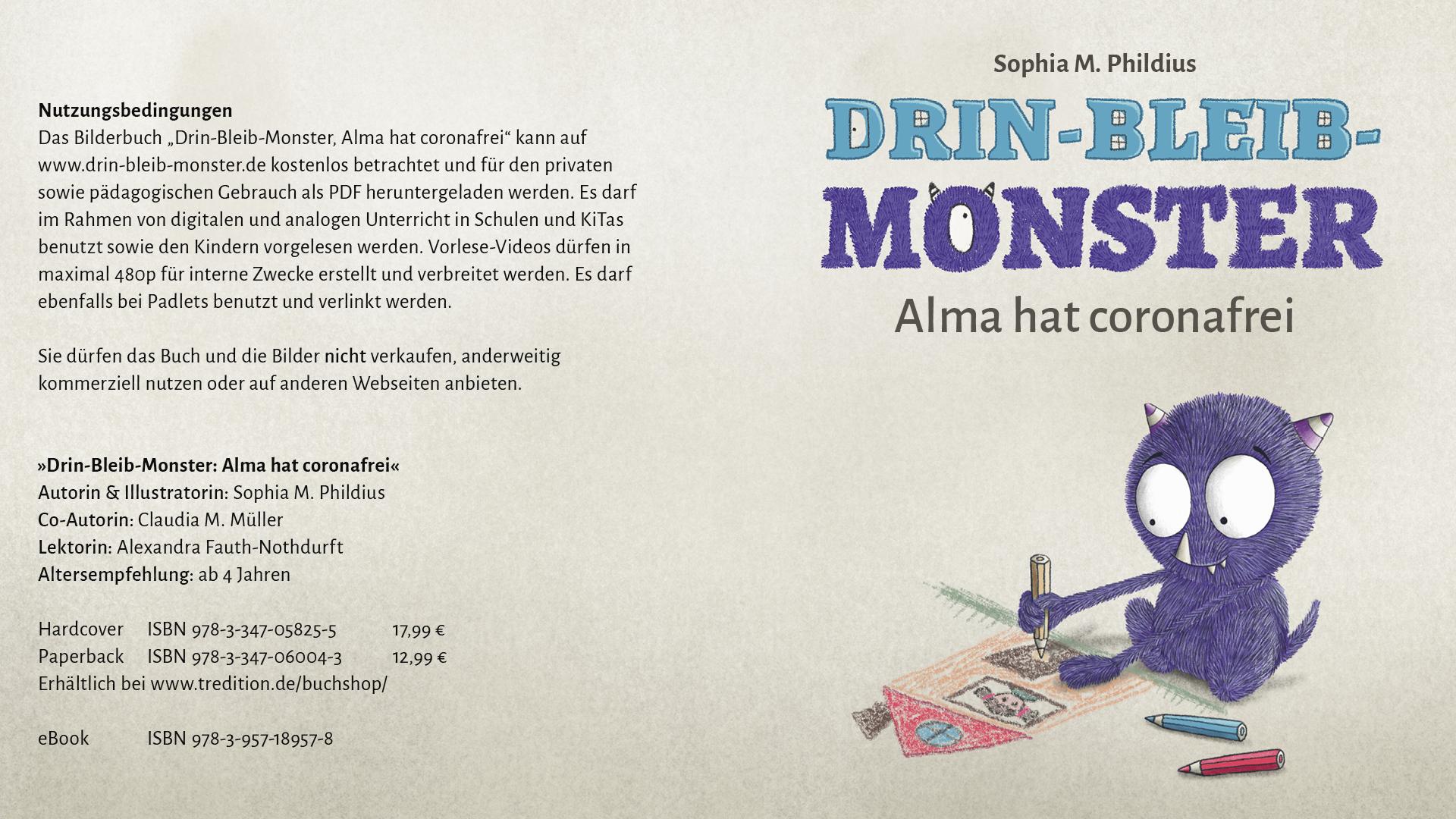 "Titel ""Drin-Bleib-Monster: Alma hat coronafrei"""
