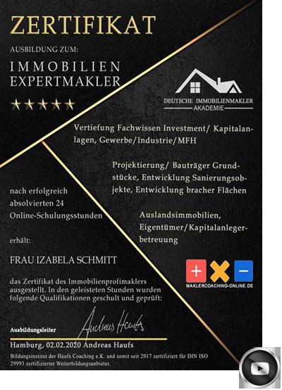 DETMOLD IMMOBILIENMAKLER MAKLER AWARD ZERTIFIKAT MAKLERAWARD MAKLERZERTIFIKAT