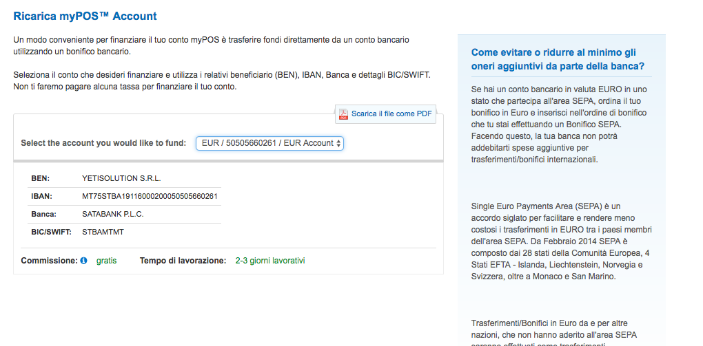 Conto corrente Mypos - Yetisolution applicazioni web