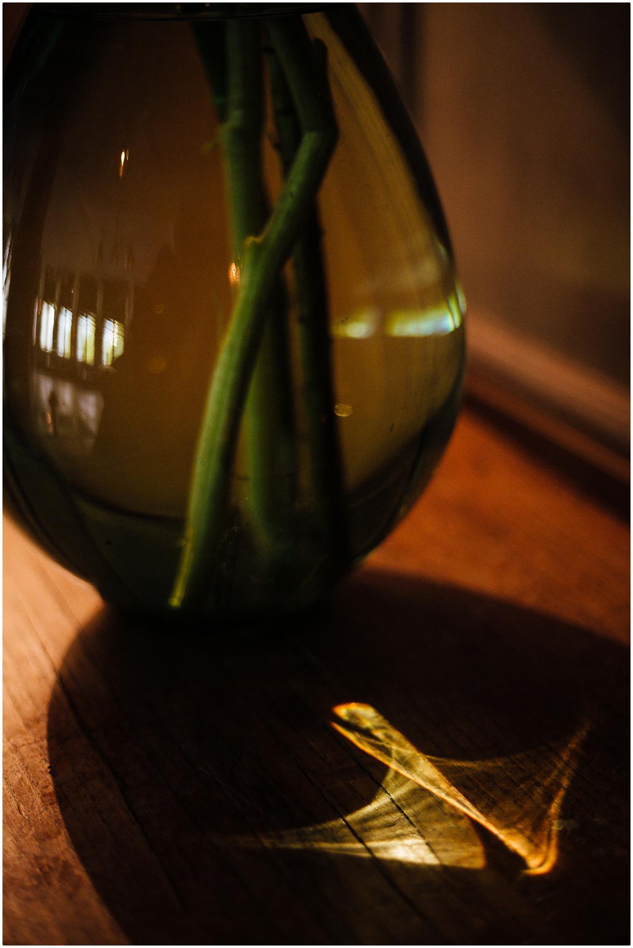 Eine Vase bricht das Sonnenlicht in ein vogelförmiges Muster