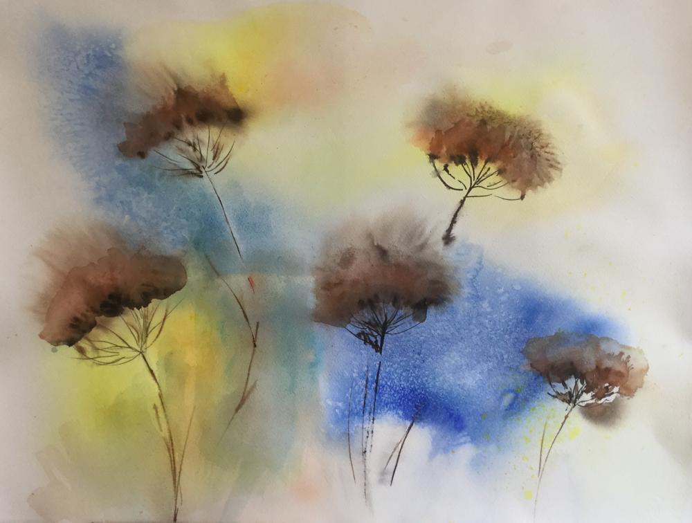 Aquarel bloemen in de natuur