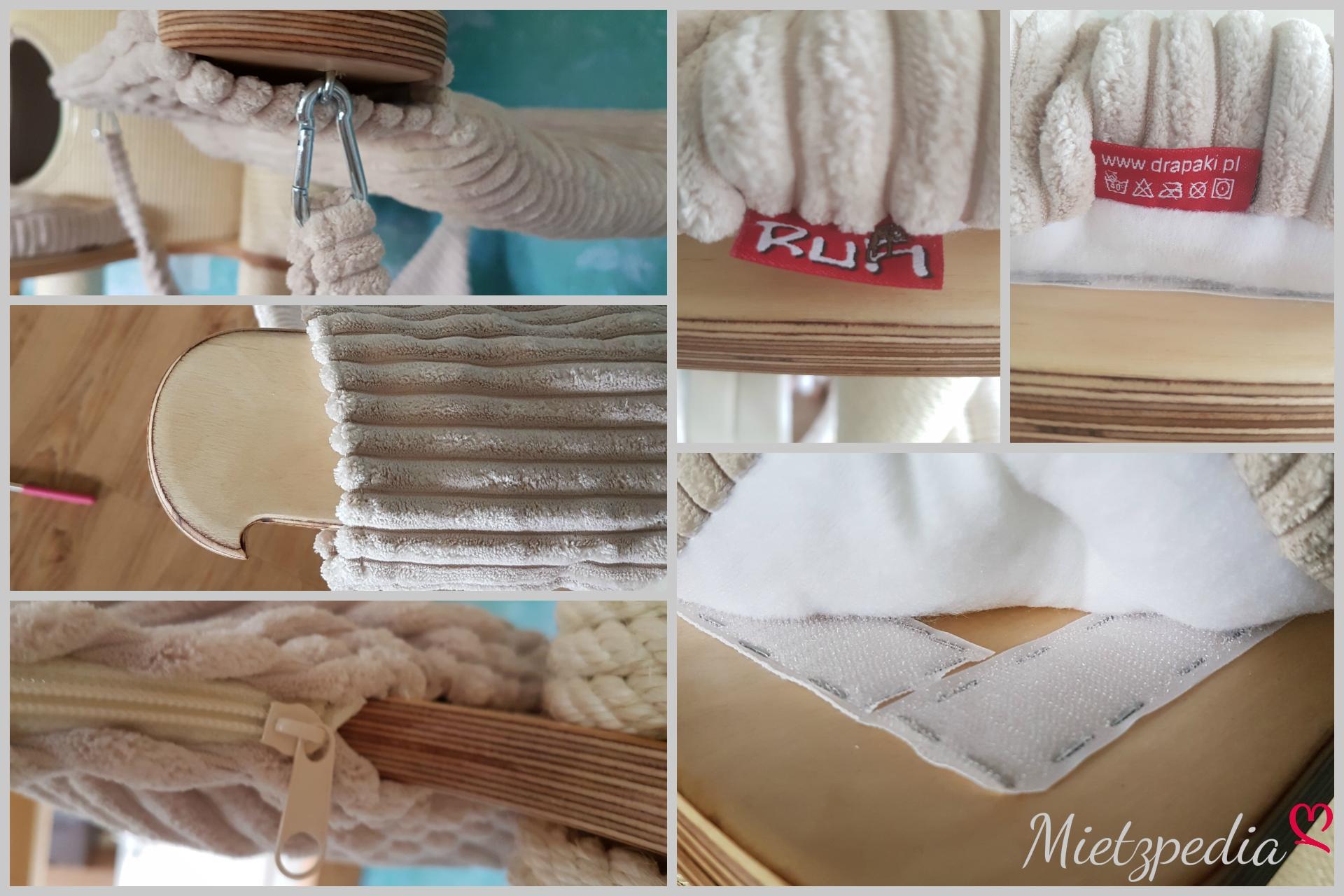Die Bezüge sind alle abnehmbar, mit Klettverschluss, Reisverschluss oder Karabiner befestigt und zudem bis 40°C waschbar