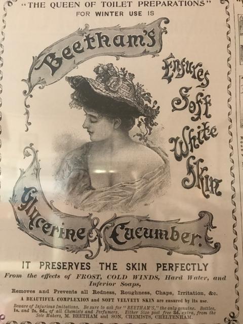Pubblicità della lozione alla glicerina e cetriolo Beetham-The Illustrated London News 1886