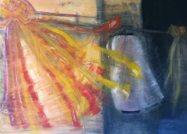 「夜風」 油彩、パネルにミュー・グラウンド 65.2×91.0㎝ 2019