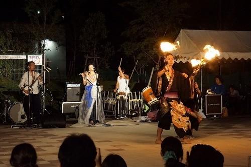 津軽三味線と篠笛、和楽器、炎舞