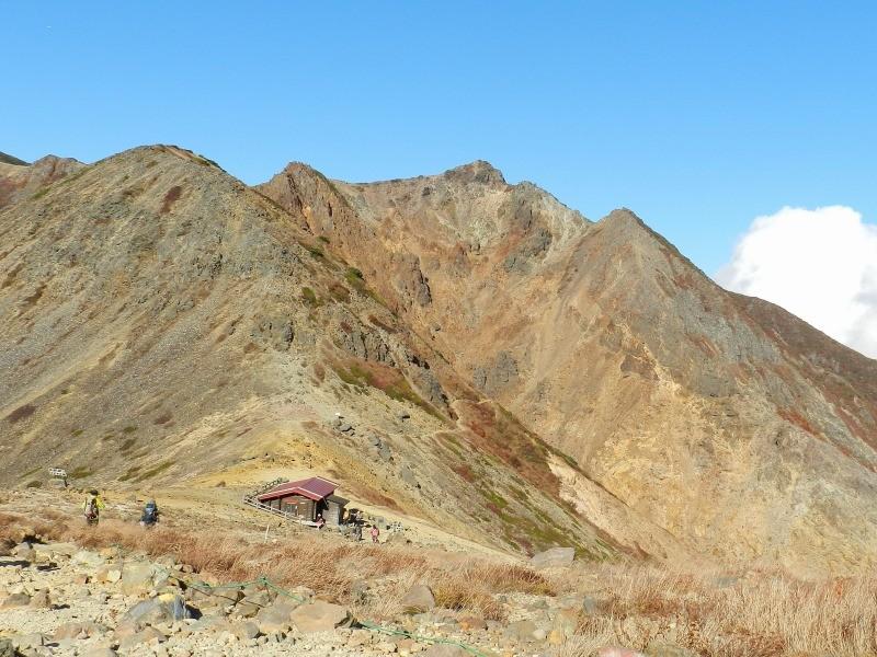峰の茶屋避難小屋から歩いて下山