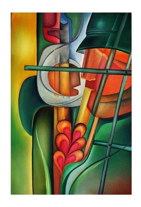 لوحة(السجان والأسير – زيت 70×50) للفنان الفلسطيني يوسف كتلو
