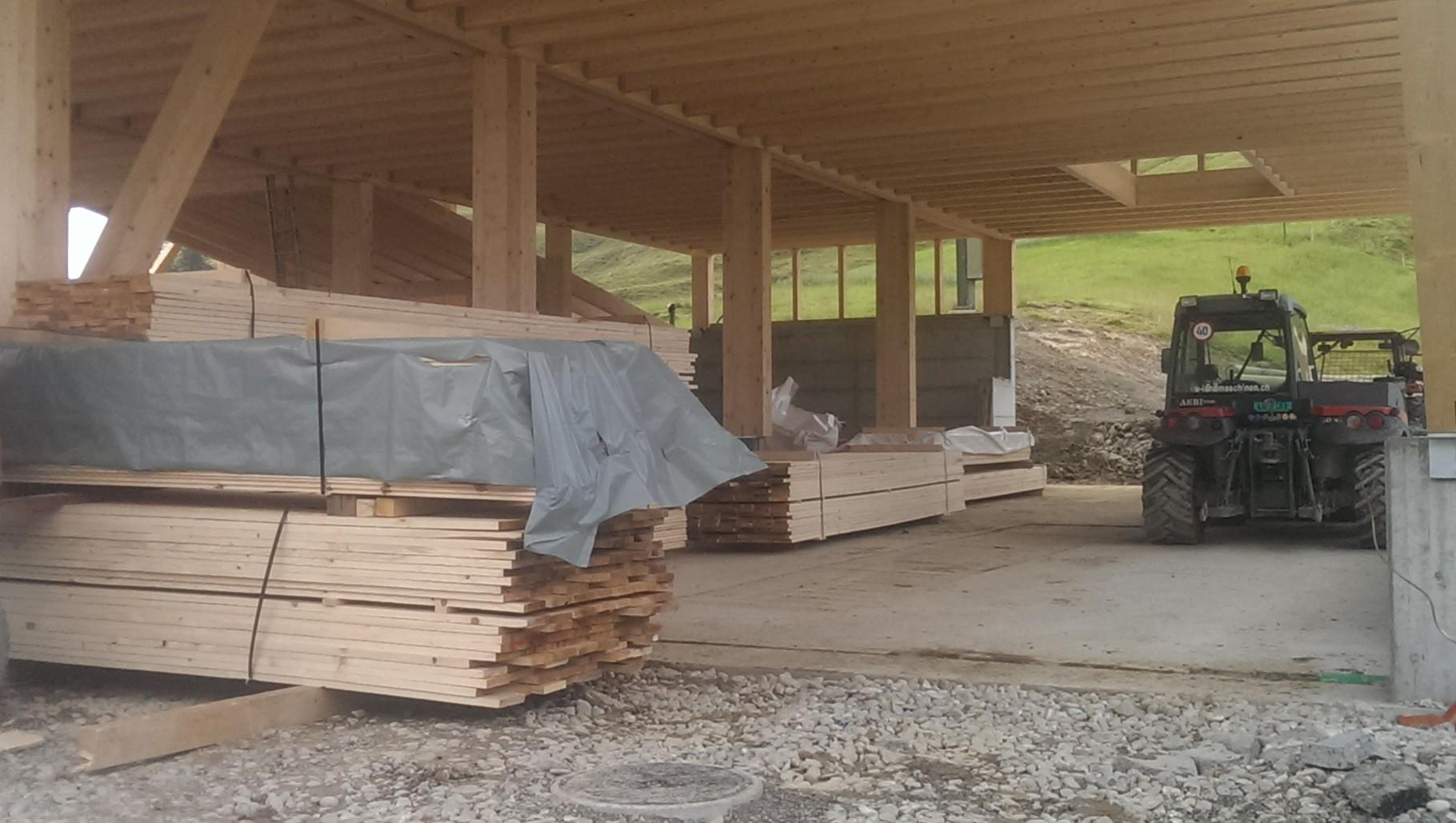 12.08.14 ....Holz für die Seitenwände liegt bereit....