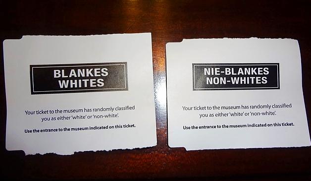 Ticket entrée Musée de l'Apartheid