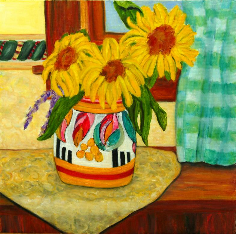 Patricia Meko, Sunny Window, oil, 24 x 24, $400