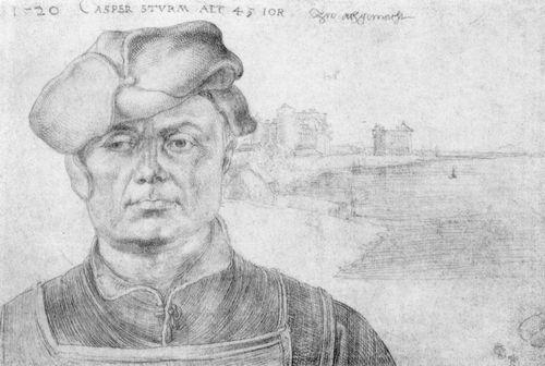 Porträt des Caspar Sturm und eine Flusslandschaft