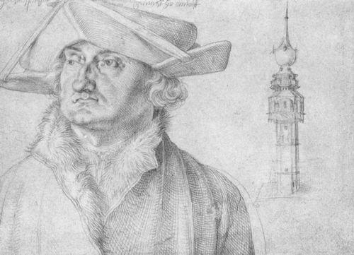 Porträt des Lazarus Ravensburger und das Türmchen des Hofes von Lier in Antwerpen