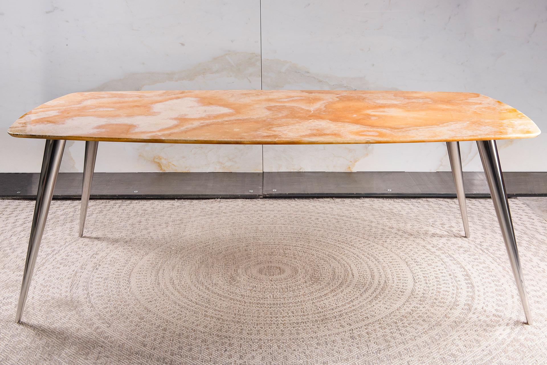 Design tafel Riva met RVS en Onyx Cappucino