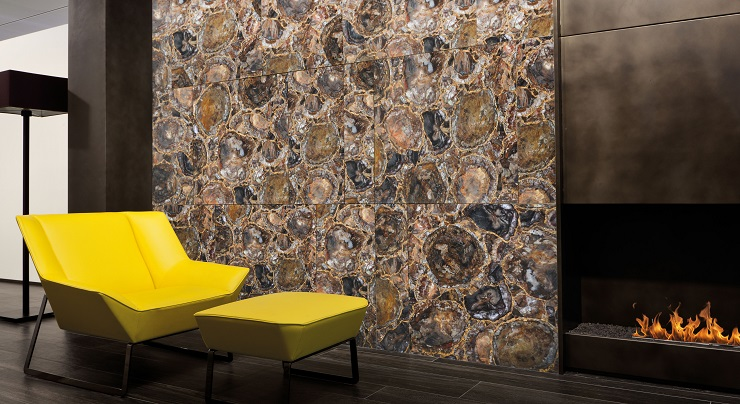 Wall cladding of brown-gold petrified wood