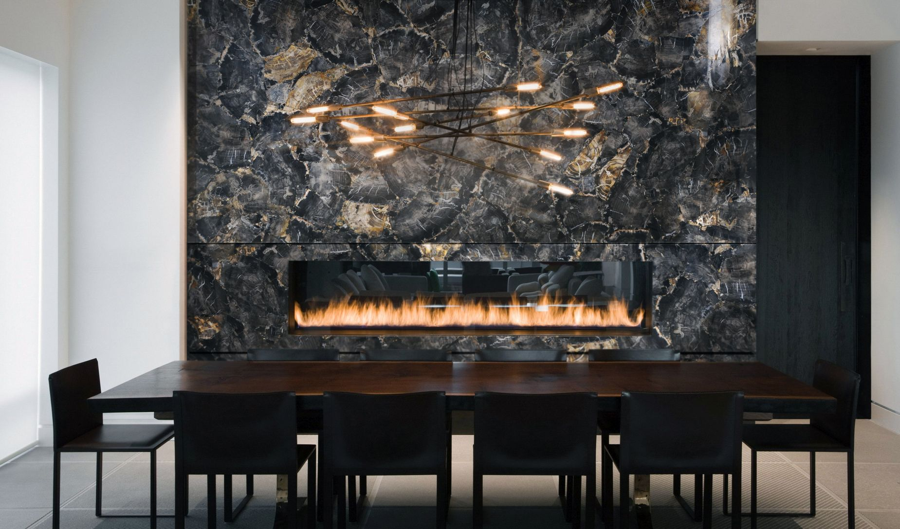 Black Petrified wood fire place