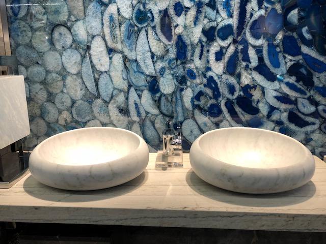 Blue Agate met klassiek wit marmer