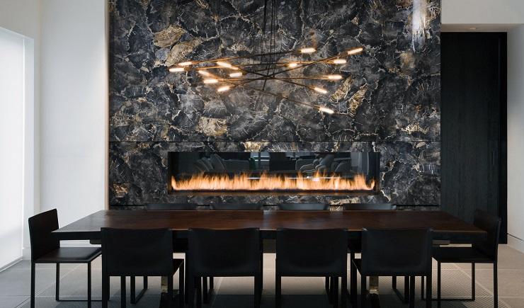 Fire place made of black petrified wood