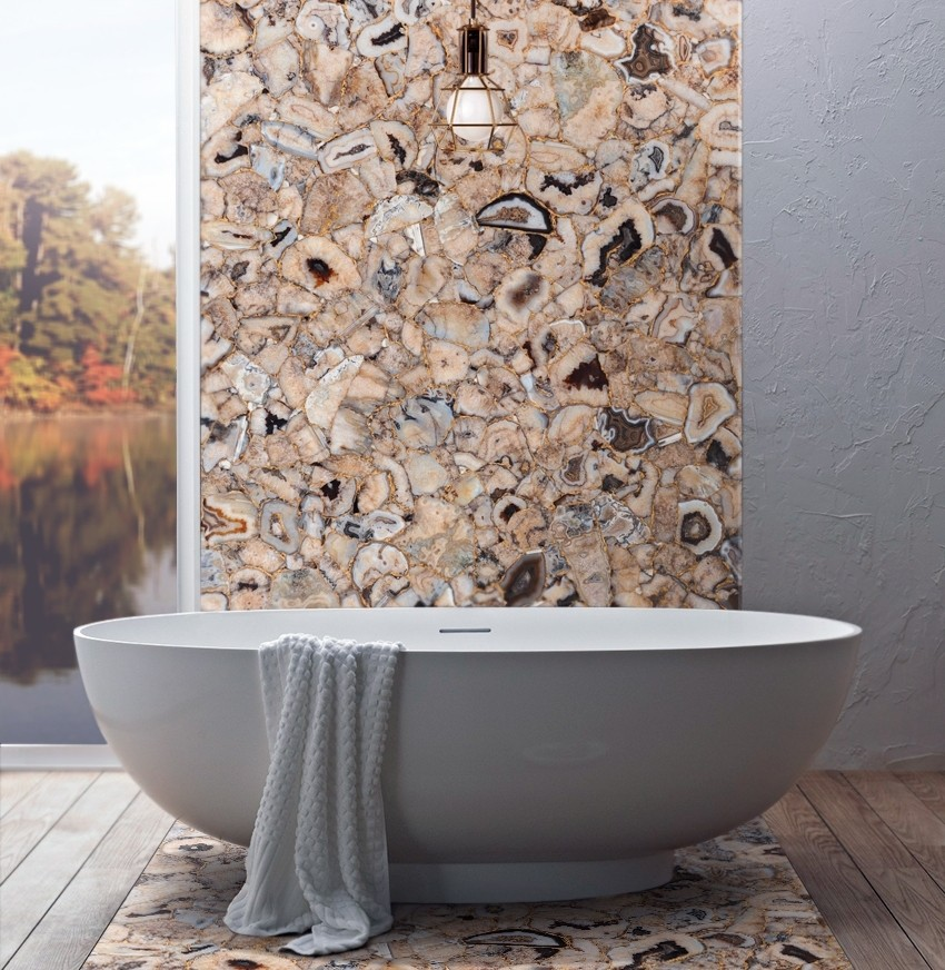 Precious stone elements for the bathroom