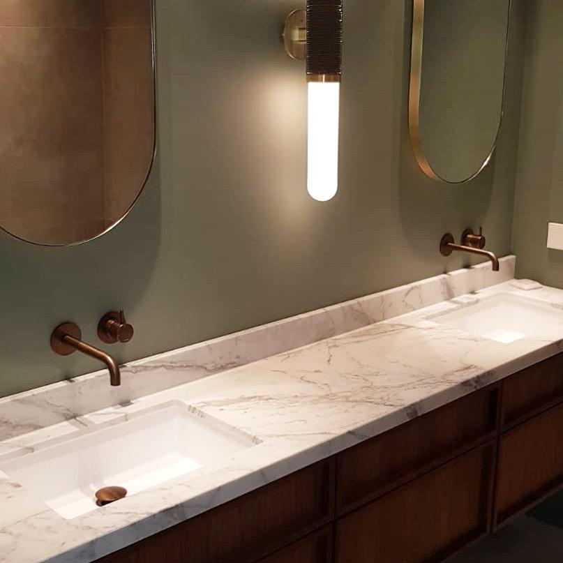 Calacatta Gold marble vanity for DBD Interiors