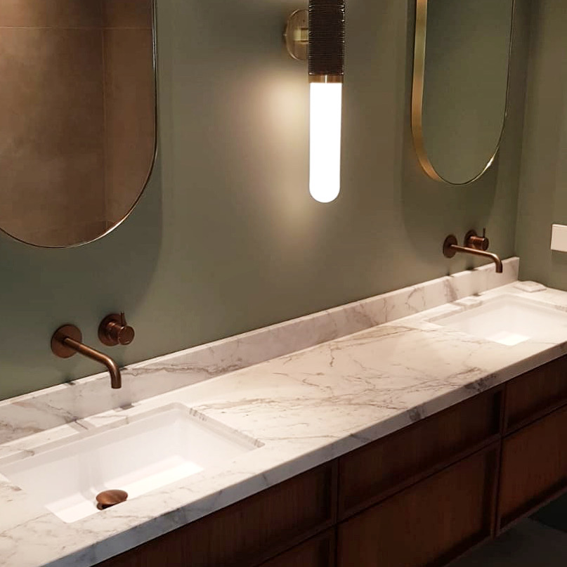 Calacatta Gold marble vanity for DBD Interiors