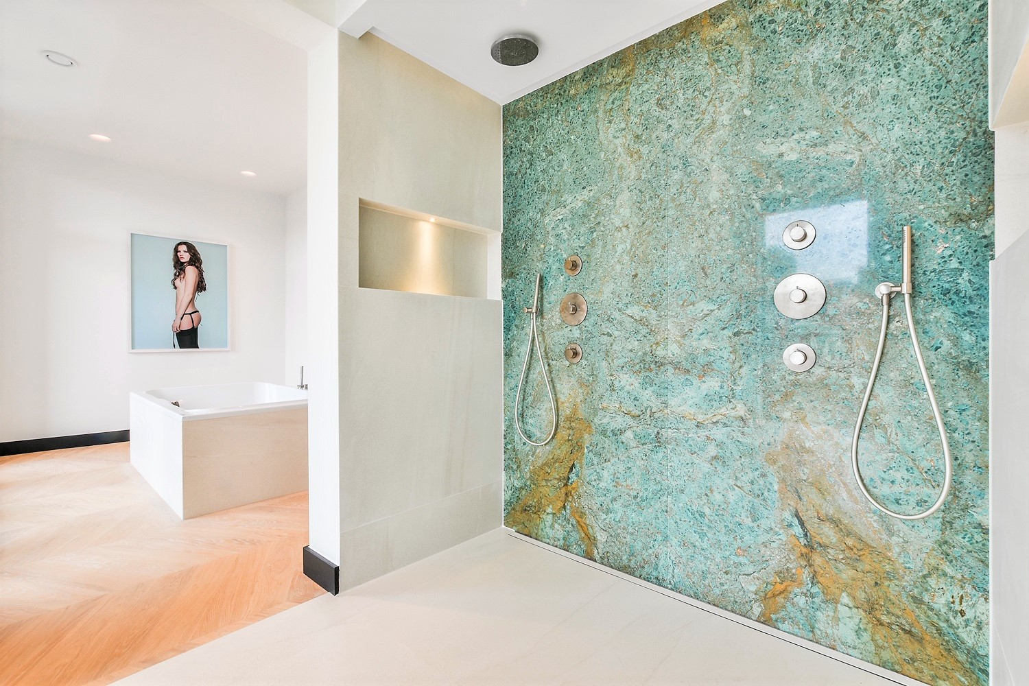 Turquoise marble luxury bathroom